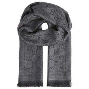 gucci grey #xg gg jacquard pattern scarf/wrap